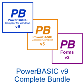 Picture of PowerBASIC for Windows v9.04  •   PowerBASIC Console Compiler v5.04  •  PowerBASIC Forms v2.01 Bundle